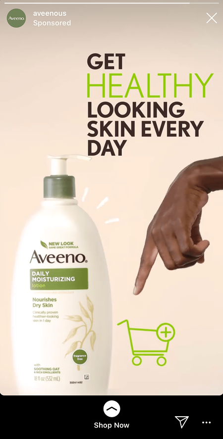 Aveeno helathy looking skin ad with a bottle of aveeno lotion
