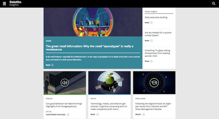 Homepage of Deloitte Insights, a B2B blog
