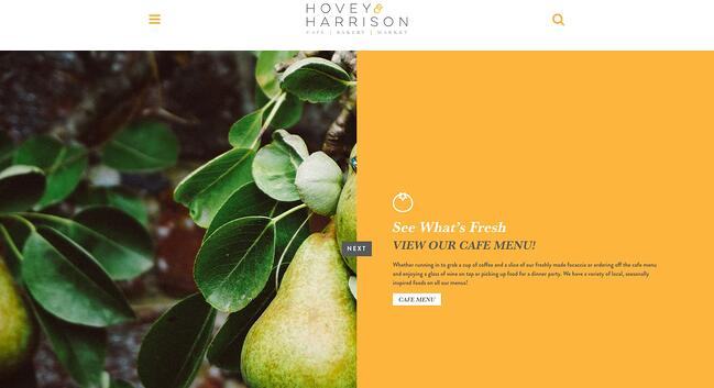 homepage for the bakery website hovery and harrison