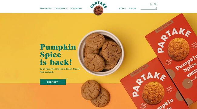 homepage for the bakery website Partake