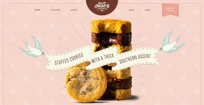 homepage for the bakery website Sweet Mae's Cookies