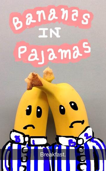 Easy Snapchat drawing of bananas in pajamas