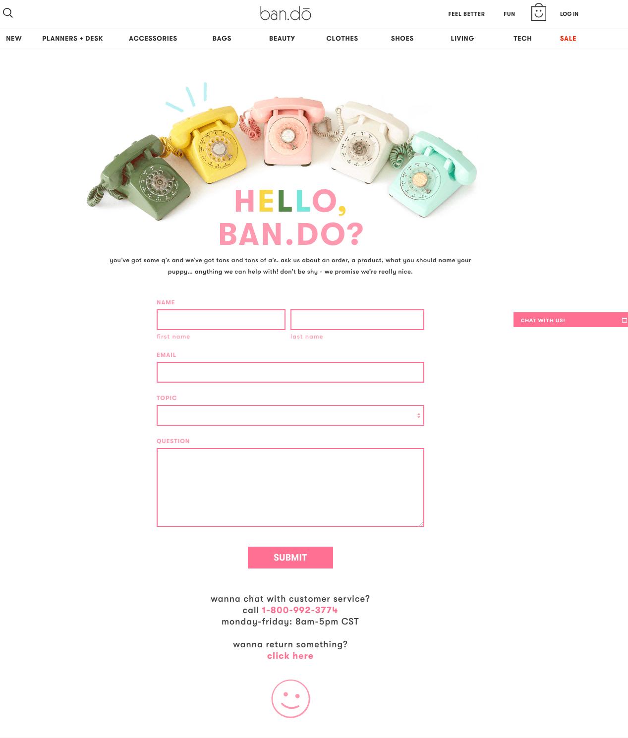 bando contact us-page