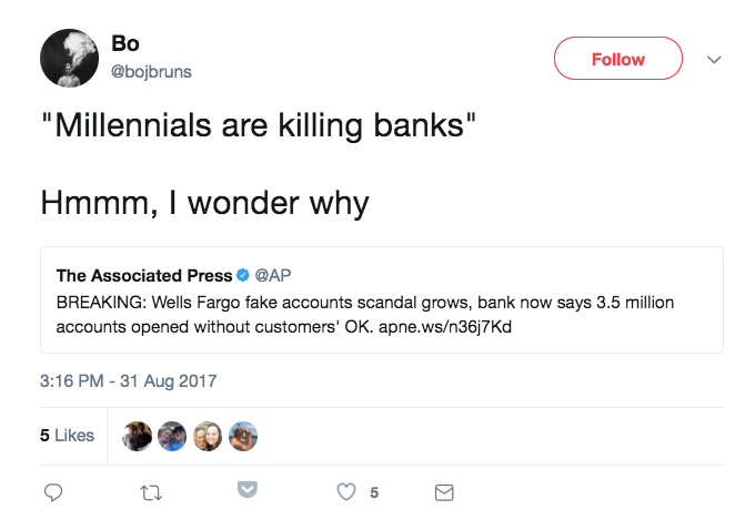 banks.png  Just 12 Funny Tweets About Millennials Killing Things banks