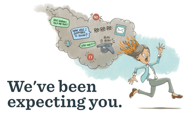 basecamp homepage picturing an animated woman running with her hair on fire while smoke engulfs emails and text messages