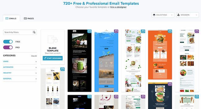 Free HTML email template library by Bee Free