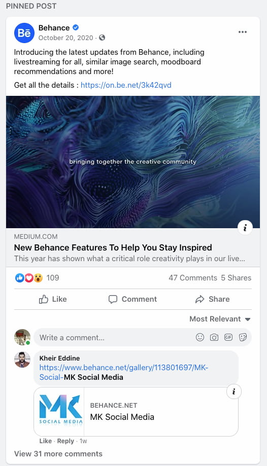 Behance pinned a Facebook post announcing the new features