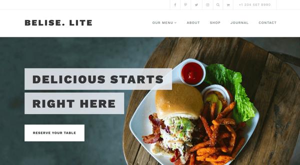 belise lite restaurant wordpress theme themeisle