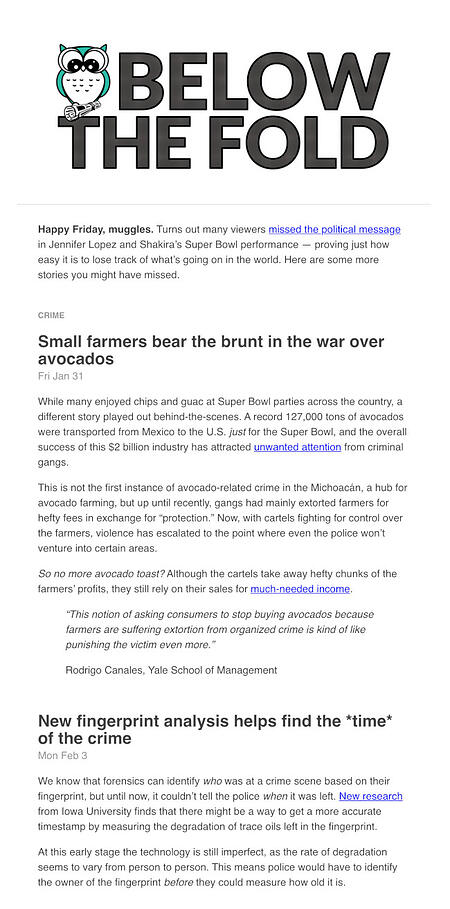 Email Newsletter Example: Below the Fold