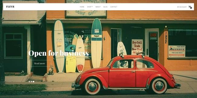 best WordPress ecommerce theme Flevr features hero image slider