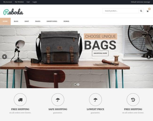 best WordPress ecommerce theme Raboda demo