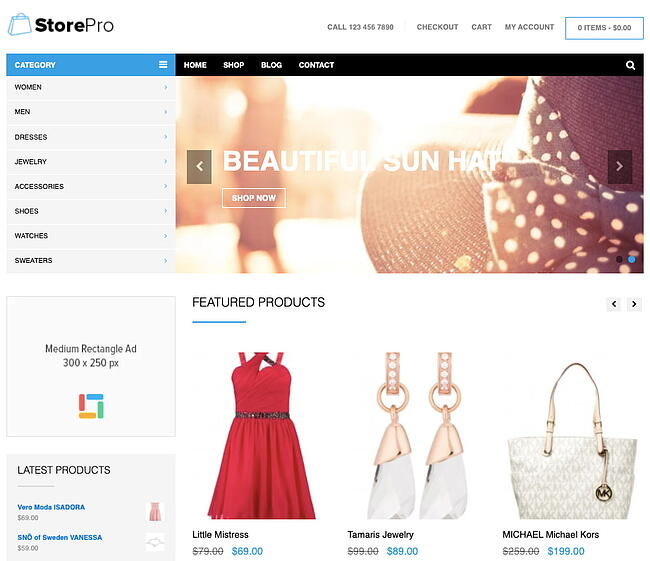 best WordPress ecommerce theme StorePro demo