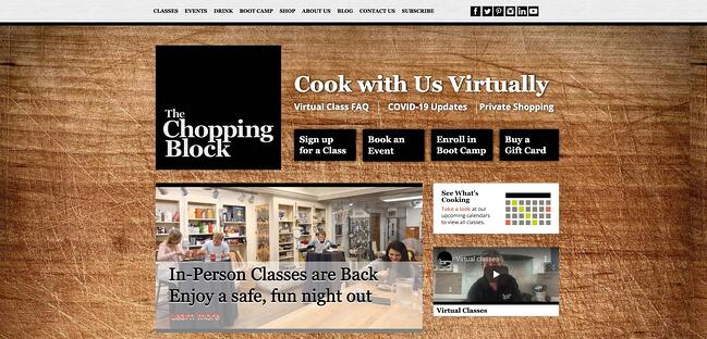 the chopping block home page, powered by cms hub