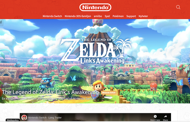 homepage for the nintendo website, powered by the joomla cms
