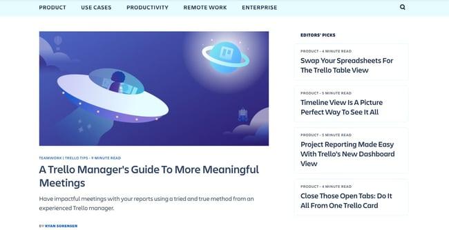 the trello blog homepage