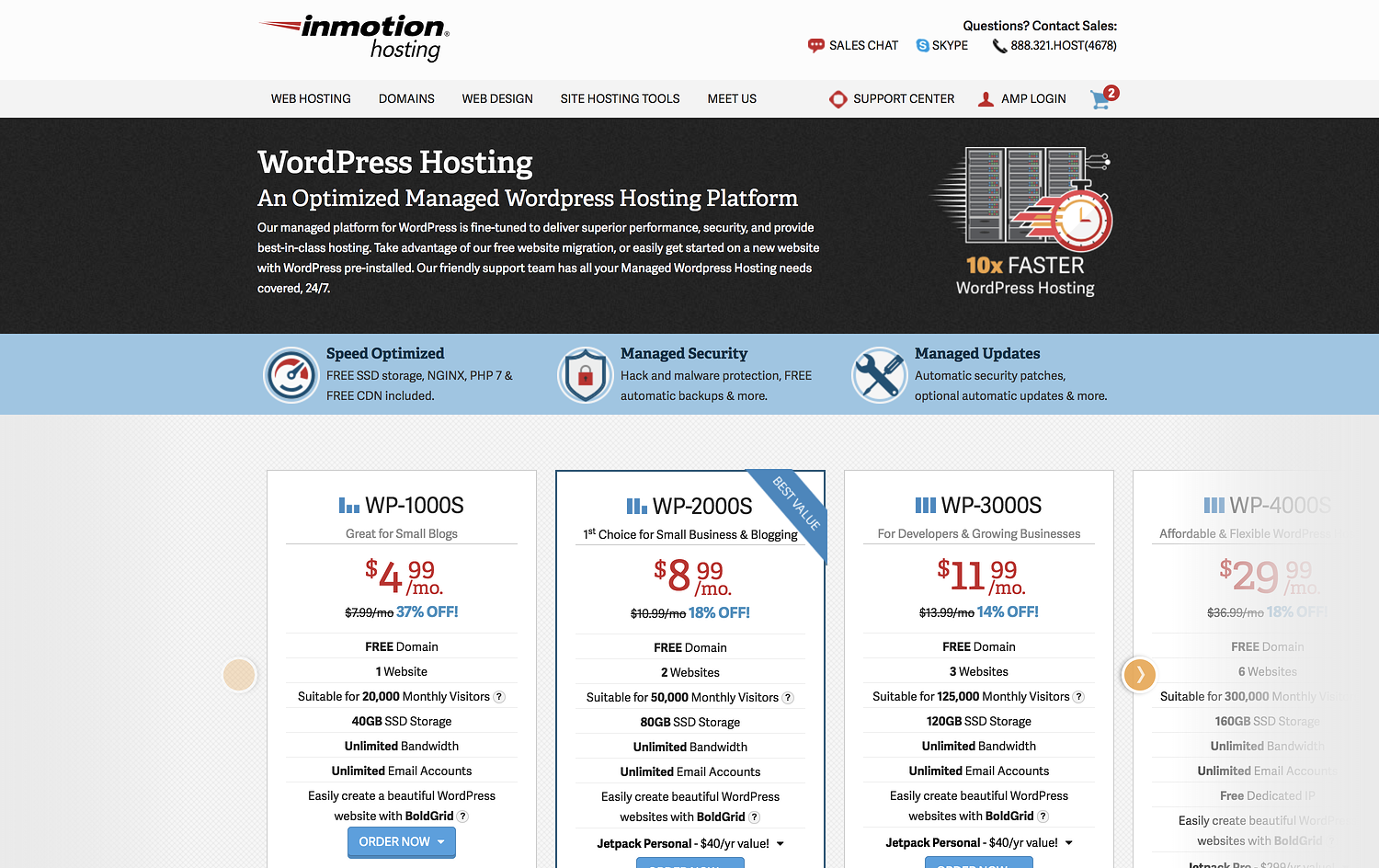 "inmotion homepage that reads ""wordpress hosting: an optimized managed wordpress hosting platform"""