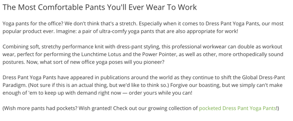 Betabrand product description.