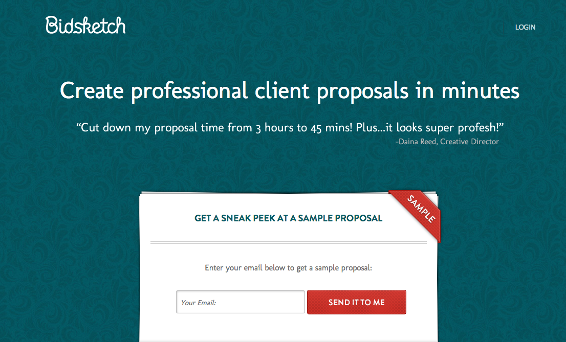 Bidsketch proposal software homepage