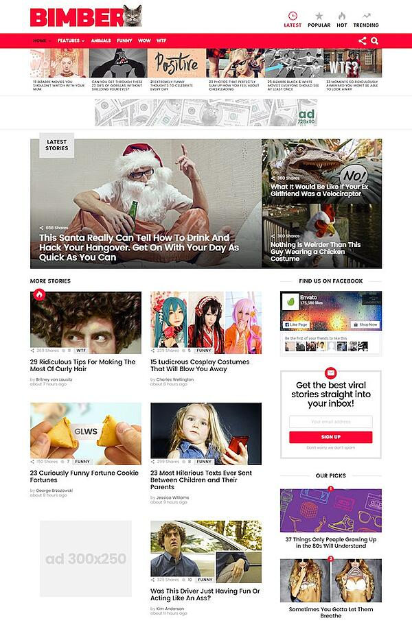 Homepage demo of WordPress theme Bimber