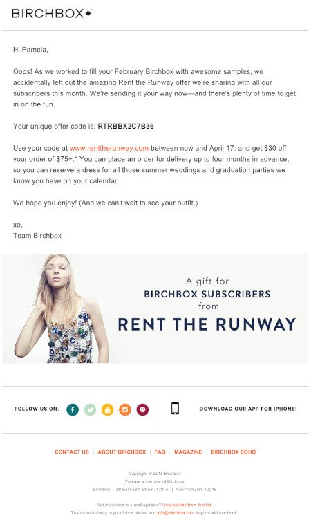 """Email Marketing Campaign Example: Birchbox - """"Oops!"""""""