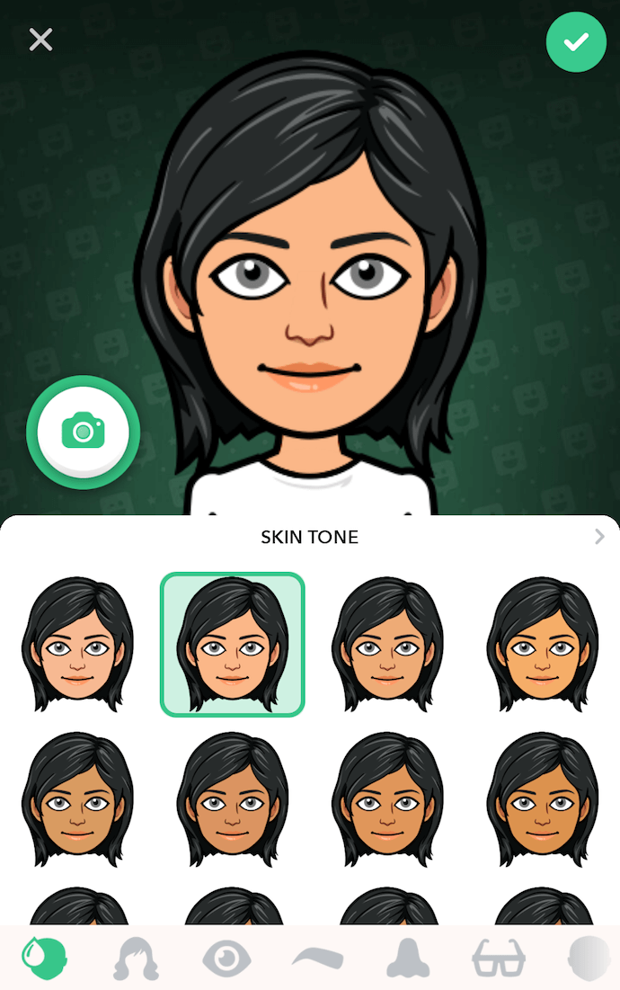 Bitmoji app screen with black-haired female avatar and skin tone options
