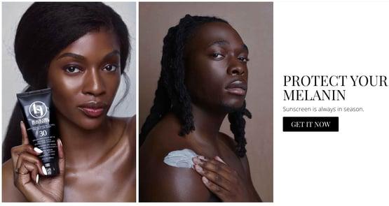 black girl suntan lotion homepage marketing message