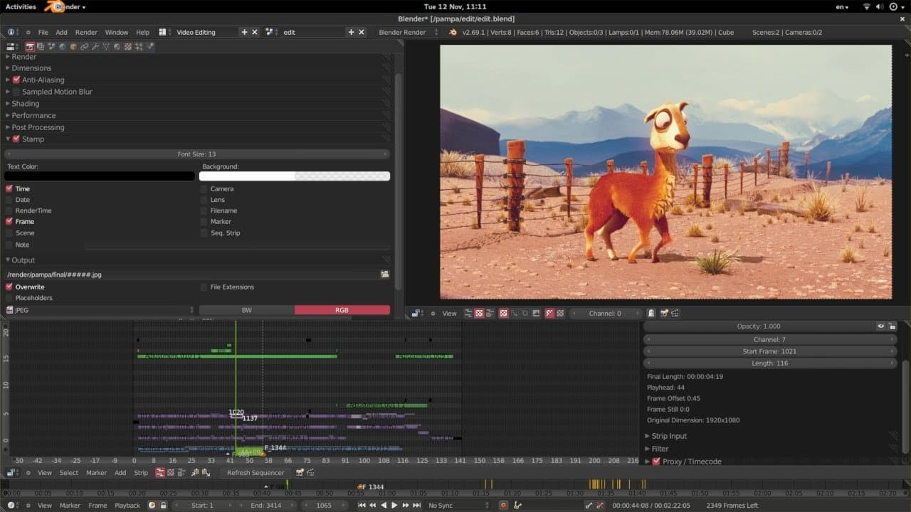 Blender desktop application for editing videos