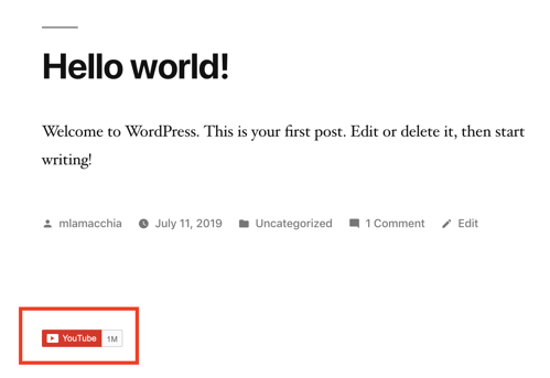blog post example of WordPress YouTube subscribe button