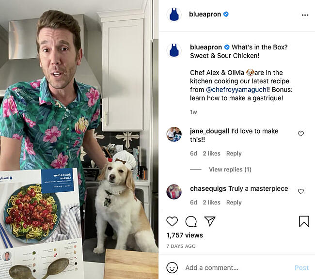 Testimonial example from Blue Apron's Instagram account
