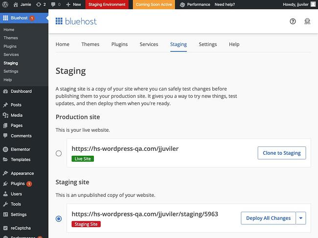 Bluehost cloned-to-staging confirmation in staging environment