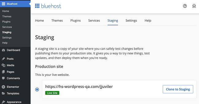 Bluehost staging dashboard inside the WordPress admin panel