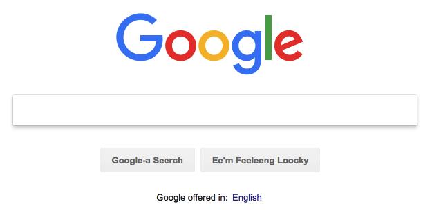 Bork, bork, bork! language setting in Google