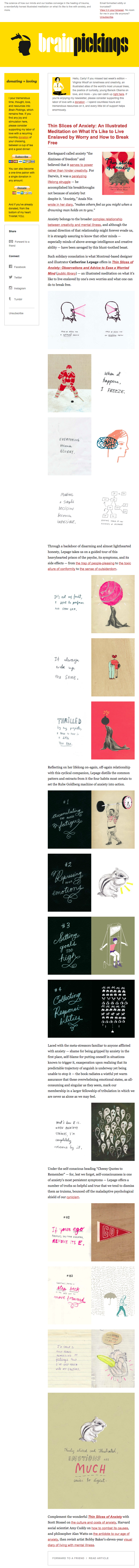 Email newsletter example design with links, clips, and images by BrainPickings