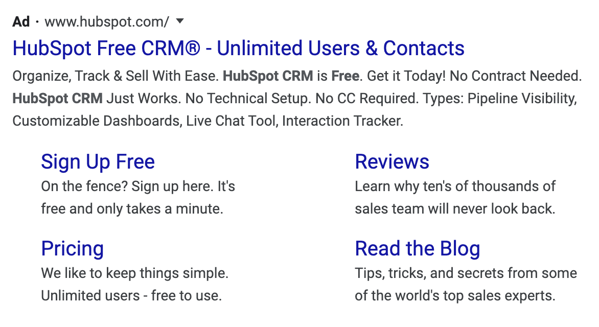 Branded keywords example in Google paid search ads.