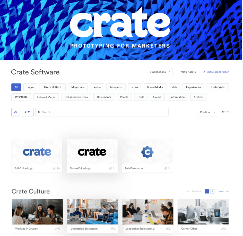 brandfolder example screen for Crate Software