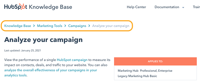 an example of breadcrumb navigation on the hubsot knowledge base website