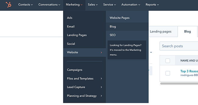 Drop-down menu in CMS Hub leading toward the
