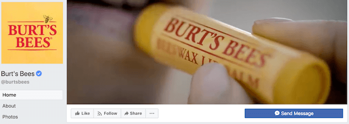 Burt's Bees Facebook Business Page