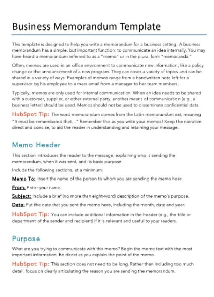 how to write a memo template  examples business memo template hubspot