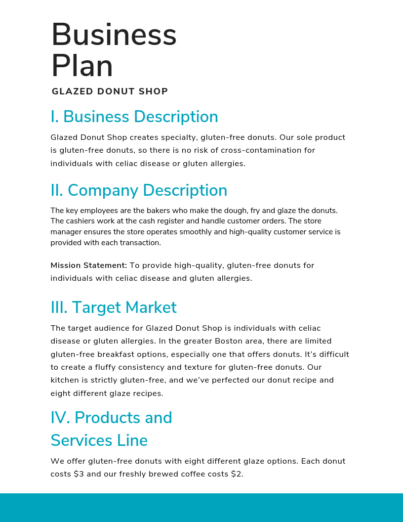 supplier business plan sample