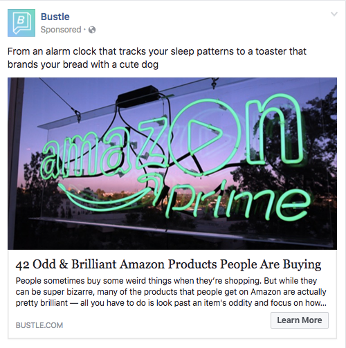Facebook boosted post by Bustle