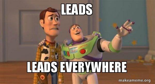 Buzz Lightyear meme with caption about leads