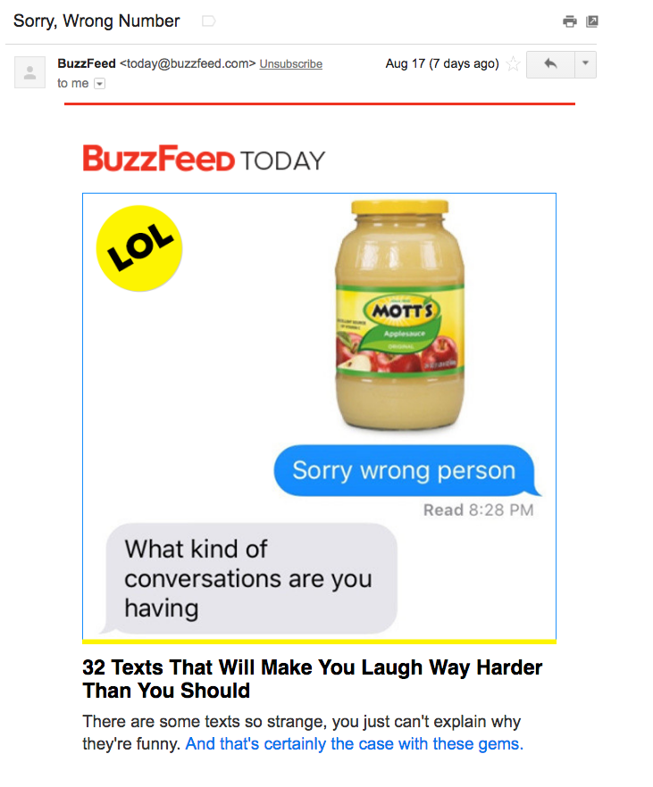 Email marketing campaign for the BuzzFeed Today newsletter