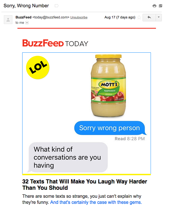Example of an email marketing campaign from BuzzFeed Today