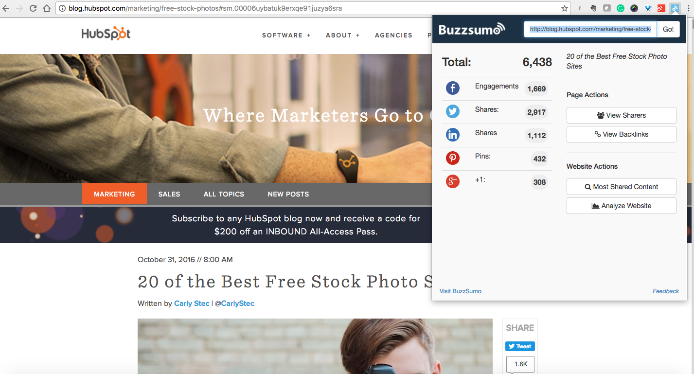 BuzzSumo Chrome extension