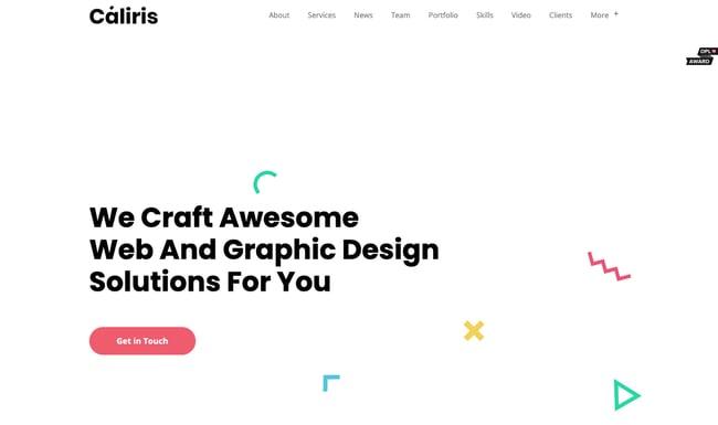 One-page WordPress theme demo for Caliris