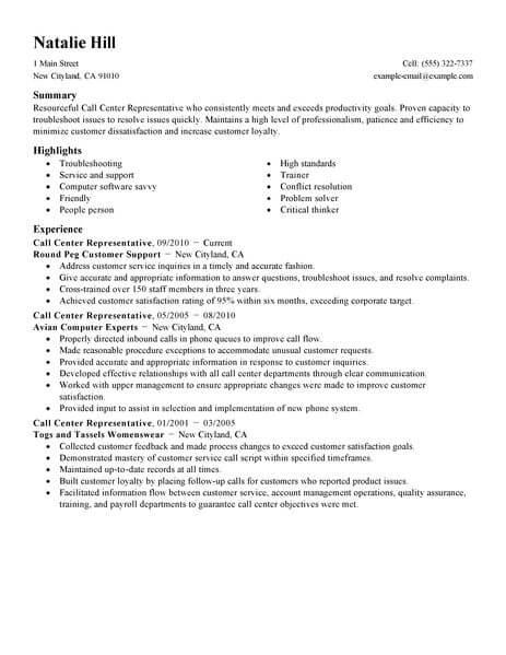 plain text call center resume example