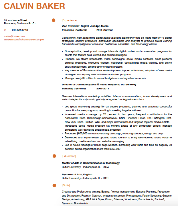 relevant experience resume examples