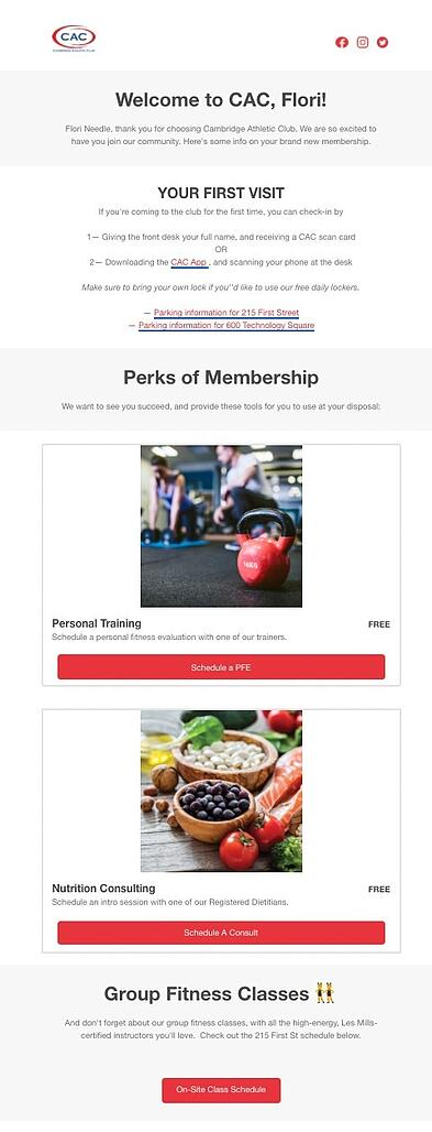 welcome onboarding email example from cambridge athletic club