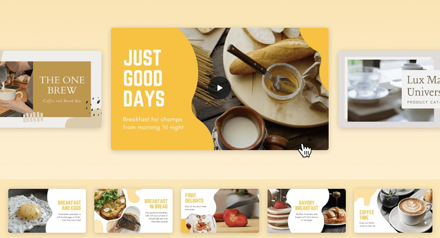 preview of the free web slideshow builder tool from Canva